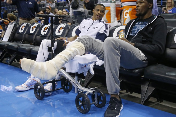 While Kevin Durant sits out, Russell Westbrook is OKC's unquestioned leader. (Sue Ogrocki/Associated Press)