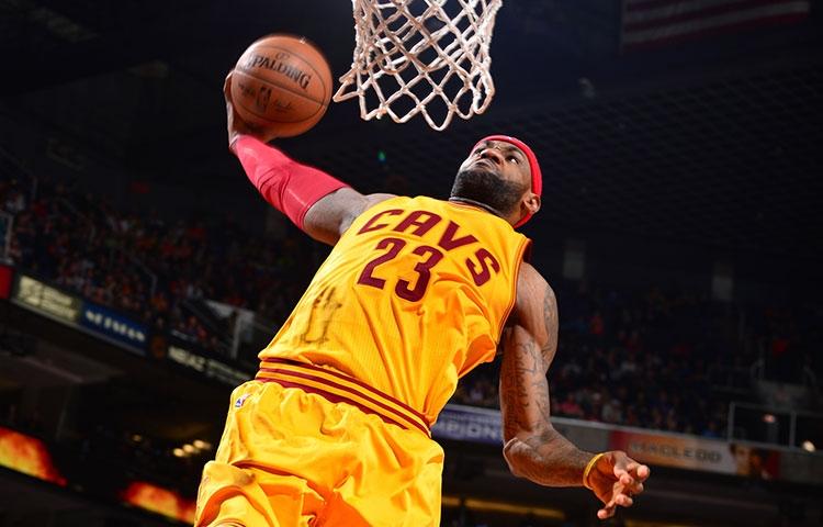 LeBron dunking