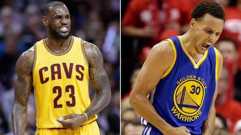LeBron James's Cavs and Stephen Curry's Warriors square off in an epic NBA Finals showdown. (Getty Images)