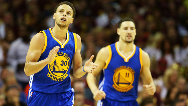 CLEVELAND, OH - JUNE 11:  Stephen Curry #30 of the Golden State Warriors celebrates in the fourth quarter against the Cleveland Cavaliers during Game Four of the 2015 NBA Finals at Quicken Loans Arena on June 11, 2015 in Cleveland, Ohio.  NOTE TO USER: User expressly acknowledges and agrees that, by downloading and or using this photograph, user is consenting to the terms and conditions of Getty Images License Agreement.  (Photo by Ronald Martinez/Getty Images)