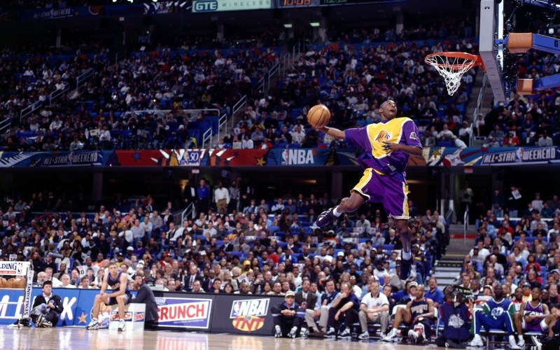 A fresh-faced Kobe Bryant emphatically made a name for himself at All-Star weekend in '97. (Getty Images)
