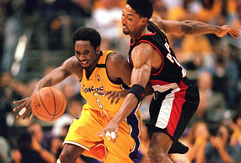 Bryant and Pippen battled each other all series long. (Photo by Tom Hauck/Getty Images)
