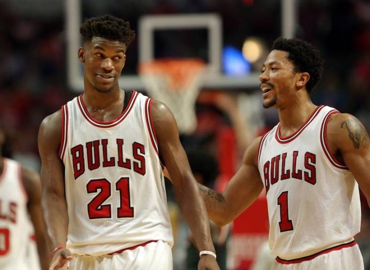 BFFs or not, Jimmy Butler and Derrick Rose have the Bulls in title contention. (Getty Images)