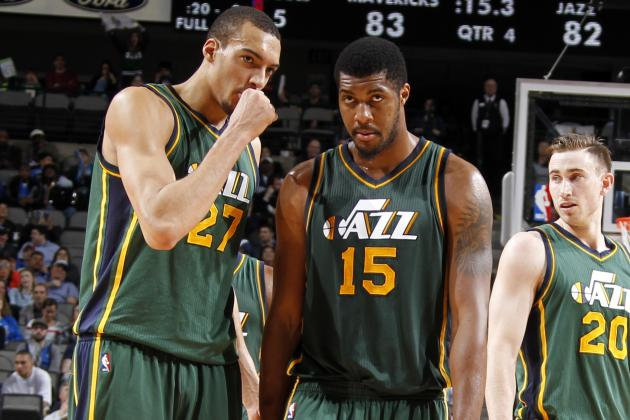 Not many shots get past Rudy Gobert and Derrick Favors on the interior. (Danny Bolinger/Getty Images)