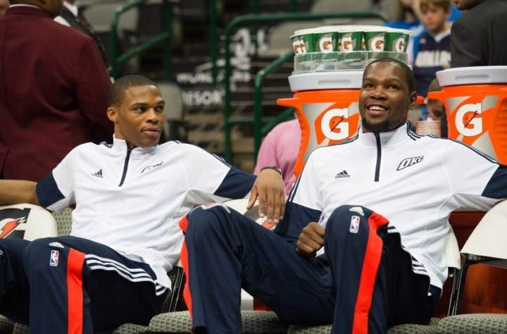 A healthy Russ & KD is a scary thought for the rest of the conference. (Jerome Miron/USA TODAY Sports)