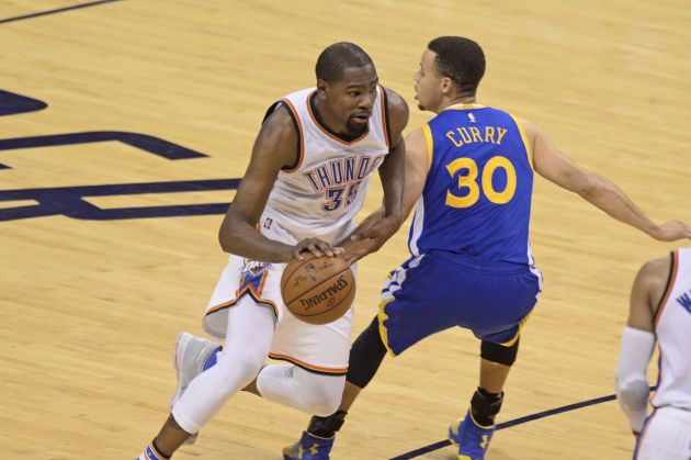Kevin Durant and the Thunder are one win away from the Finals. (USA TODAY Sports)